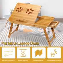 Portable Laptop Desk Stand Notebook Computer Lapdesk Adjustable USB Fan Table Stand Tray Studying Bamboo Table 2 Size
