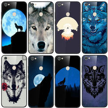 Tempered Glass Phone Cases Back Cover for Xiaomi Redmi Note 4 4X 5 5A 6 7 7A 8 8A 9 SE Pro Lite A1 A2 Shell Cool Wolf Animal(China)