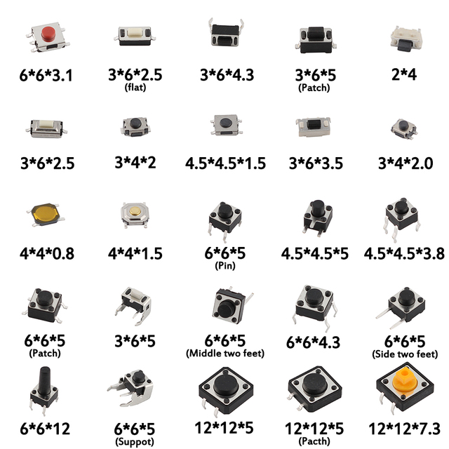 125pcs/lot touch switch/Micro Switch /push buttons switches 25 Types Assorted kit 2*4/3*6/4*4/6*6 for DIY Tool package