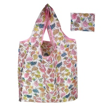 1PC Floral Printed Fabric Square Bag Portable Vegetable Shopping Green Folding Storage