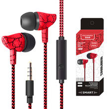 3.5mm Sport Crack Earphone Super Bass Wired Earbuds Headset Wired Headphones With Mic for Mobile Phone Samsung Xiaomi MP3 4