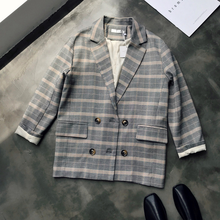 British Style Plaid Loose Type Suit Jacket Womens New 2019 Autumn Relaxation Double-breasted Collar Blazer Office Lady