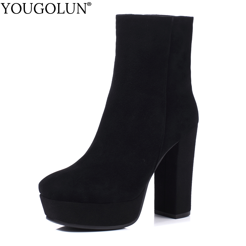 Cow Suede Ankle Boots Women Autumn Winter Ladies Shoes Fashion High Thick Heels A345 Sexy Woman Black Square Toe Platform Boots in Ankle Boots from Shoes