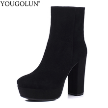 Cow Suede Ankle Boots Women Autumn Winter Ladies Shoes Fashion High Thick Heels A345 Sexy Woman Black Square Toe Platform