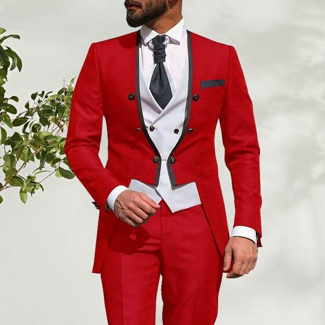 2021 New Italian Tailcoat Design Red Men Suit 3 Pieces Slim Fit Wedding Suits For Men Groom Tuxedos Bridegroom Best Man Blazer