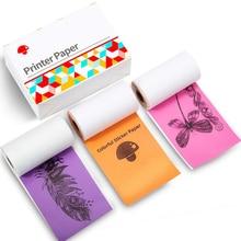 Colorful Thermal Sticker Paper M02/M02S Mini Printer, Black Character on Purpple/Rose/Orange, 50mm x 3.5m, Diameter 30mm, 3 Roll