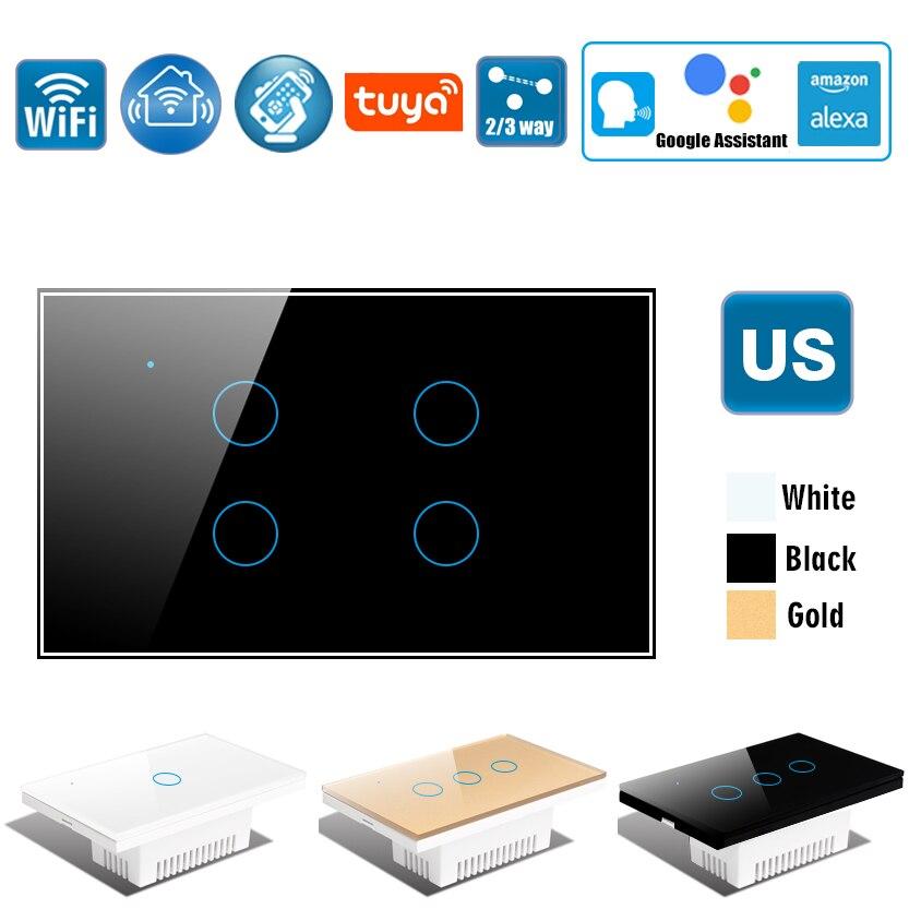 US Wifi Wall Touch Switch, Wireless Smart Tuya Control Light Switch,2/3 Way, Glass Panel Touch-Sensor interruptore 1/2/3/4 Gang