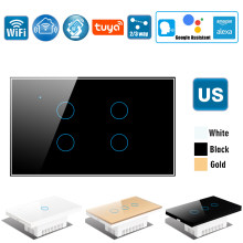 US Wifi Wall Touch Switch, Wireless Smart Tuya Control Light Switch,2/3 Way, Glass Panel Touch-Sensor interruptore 1/2/3/4 Gang