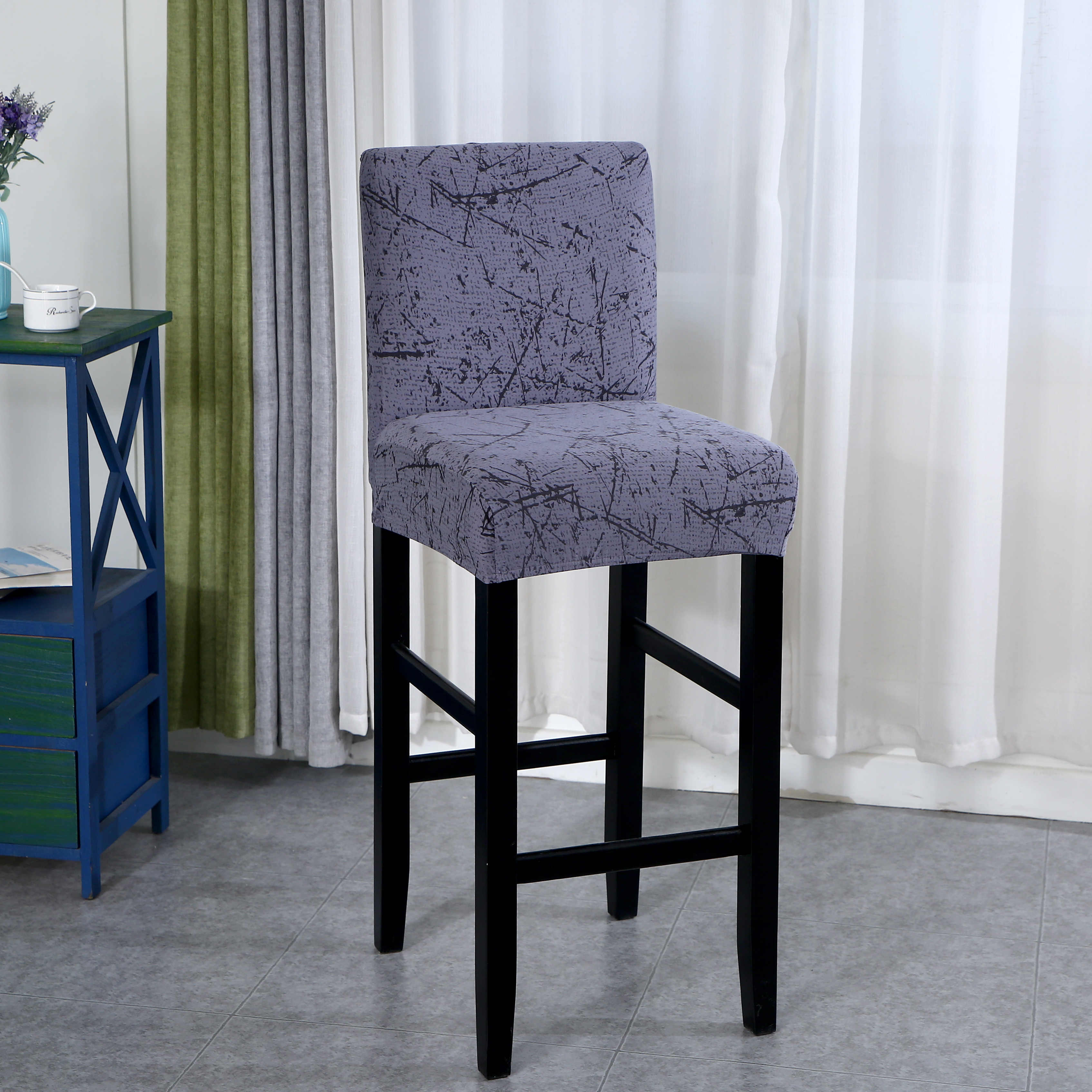 Image of: 1 2 4 6pieces Elastic Chair Cover For Bar Stool Short Back Dining Room Chair Slipcover Spandex Stretch Case For Chairs Banquet Chair Cover Aliexpress
