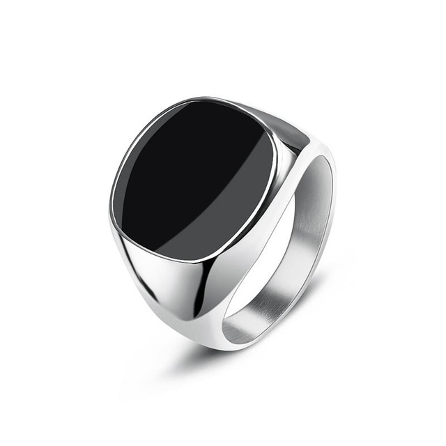 Jiayiqi Men's Ring Punk Rock Smooth 316L Stainless Steel Signet Ring For Men Hip Hop Party Jewelry Wholesale Male Wedding Anel