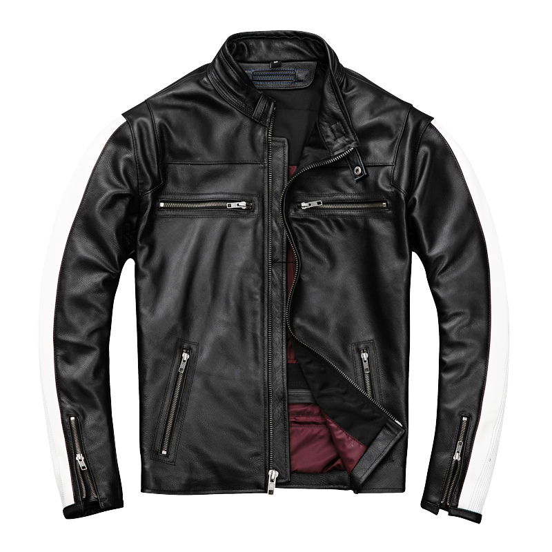 2020 Black Men Slim Fit Racing Jacket Plus Size XXXXL Genuine Cowhide Russian Autumn Biker's Leather Coat