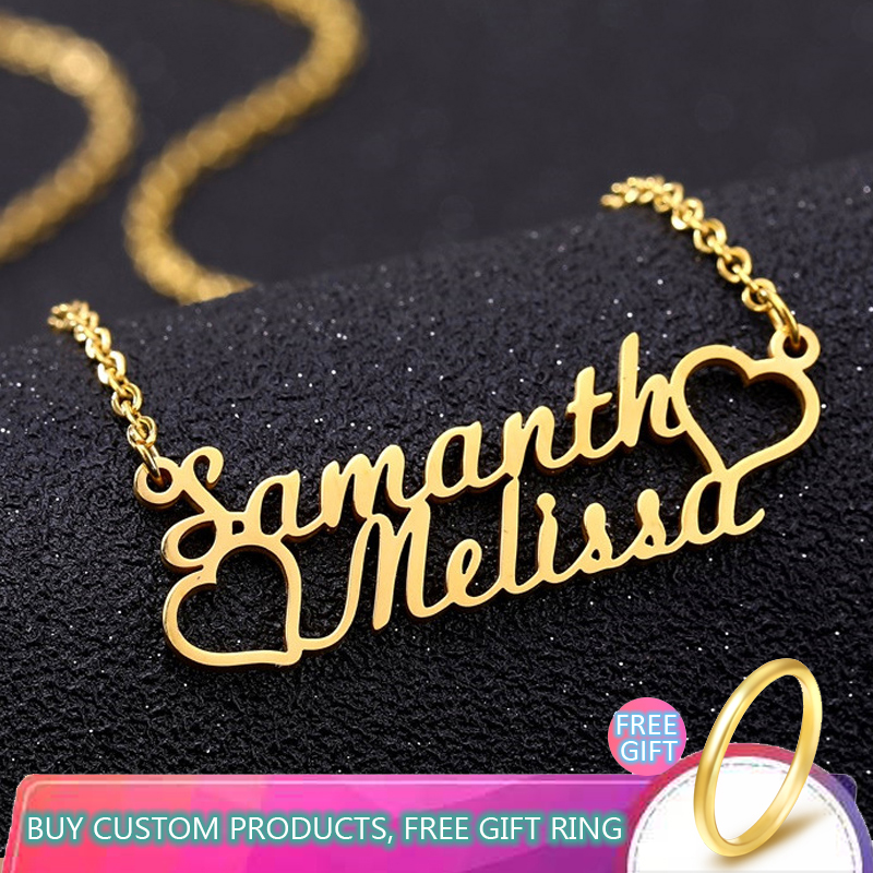Personalized Custom Double Heart Name Pendant Necklace For Women Handwriting Gold Stainless Steel Chain Fashion Jewelry Gifts