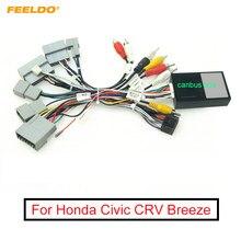 Feeldo carro 16pin cablagens de áudio com caixa canbus para honda civic crv brisa aftermarket estéreo instalação adaptador fio