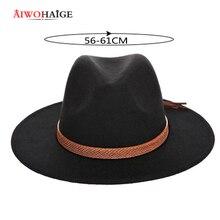 Новые осенние и зимние мужские ковбойские шляпы «Fedora» большого размера, шапки 60 см, классические пушистые шапки sombrero, имитация шерсти, кепка, козырек