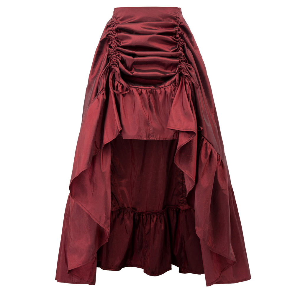 Vintage Long Skirt Women Adjustable High-Low Skirt Retro Ruffles Pleated Elastic Waist Gothic Renaissance Steampunk Skirts Falda
