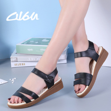 O16U Genuine Leather women flat sandals shoes women wedge sandals ladi