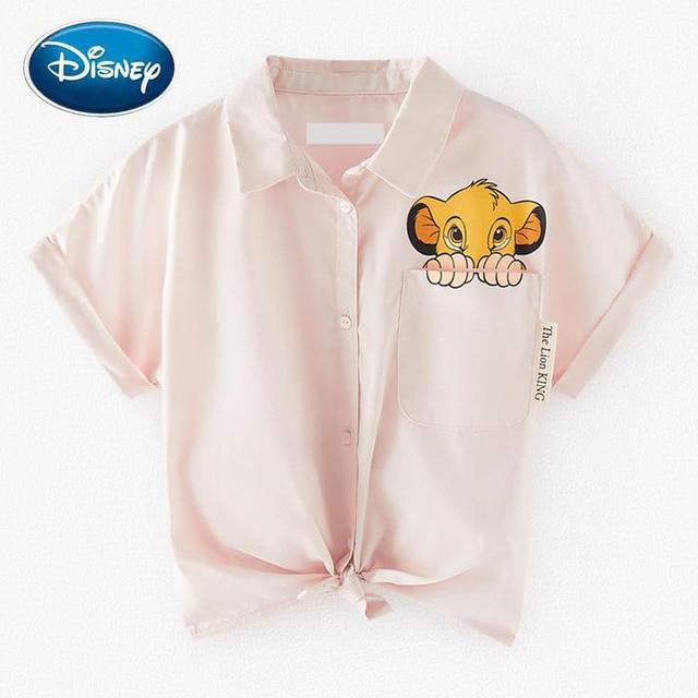 Disney Chic Fashion The Lion King King of the Jungle Cartoon Print Blouse Turn-down Collar Short Sleeve Casual Women Shirt Tops 1
