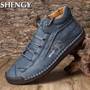 Female Boots Flats-Shoes Autumn Casual Men Comfy Breathable Non-Slip Ankle Loafers Hand-Stitching