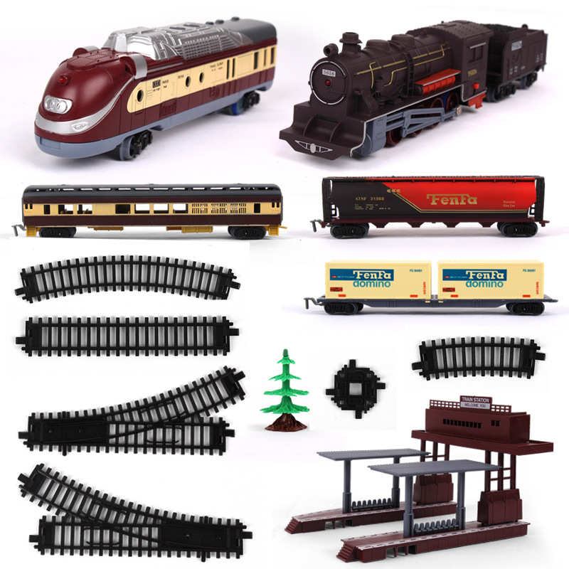 Toy Simulation Of Endeavor Rail Train Toys For Boys Locomotive Streetscape Track Containerized Carriage Toys For Children Trees