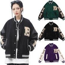 2021 Hip Hop Mens Baseball Jackets Furry Bone Patchwork Color Block Jackets Women Harajuku College Style Bomber Baseball Coats