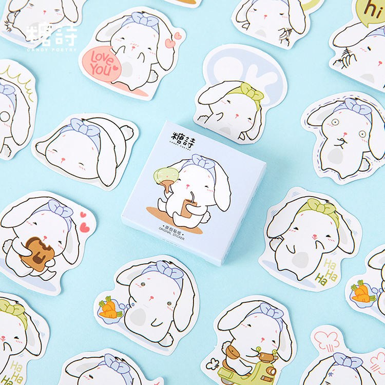 45pcs/pack Cute Bunny Kawaii Stationery Stickers Sealing Label Travel Sticker Diy Scrapbooking Diary Planner Albums Decoration