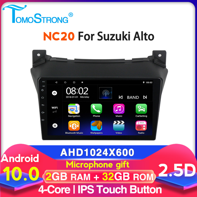 Tomostrong Android 10 Car GPS Multimedia Player For Suzuki Alto 2009 2010 2011 2012 2013 2014 2015 2016 2+32G Head Unit