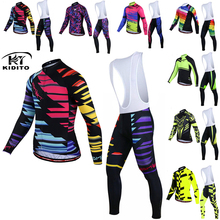 цена на KIDITOKT Cycling Jersey Set men Winter Thermal Fleece MTB Bike Cycling Clothing Suit Keep Warm Mountian Bicycle Cycling Clothes