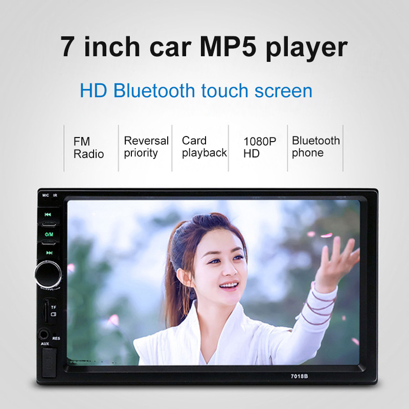 7018B universal car multi-function player Car radio recorder touch screen Car audio rearview mirror Bluetooth multimedia player image