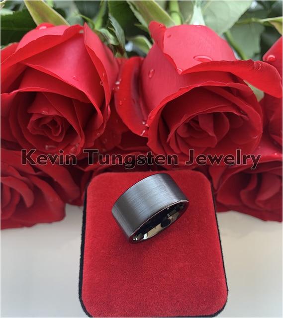 Черный Мужской Перстень 12 мм вольфрамовый свадебный браслет