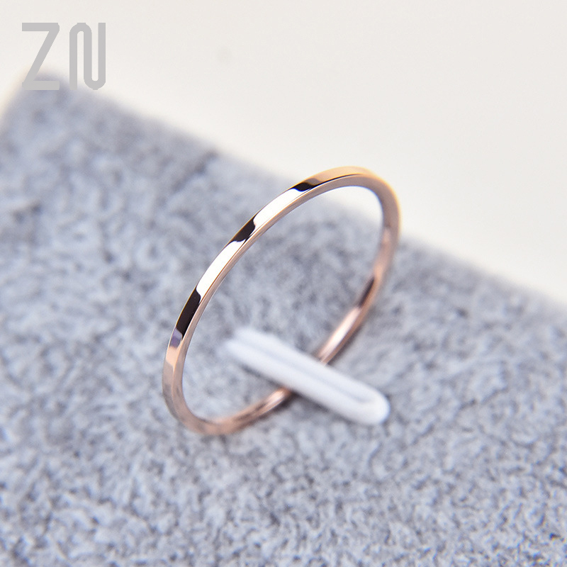 1 мм Тонкий Titanium стали серебристого Цвет обручальное кольцо Простые Модные розовое золото Цвет кольцо на палец для женщин и мужчин Подарки д...