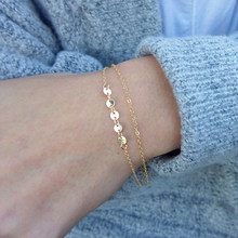 Double layer Bracelet Gold Filled Bracelet Handmade Coins Jewelry Bracelets Boho Charms Vintage Cheville Anklets Bracelet(China)