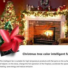 2020 New Fireplace Fan Christmas Tree Color High Temperature Heat Fan Energy Saving and Environmental Protection Fireplace Fan