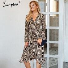 Simplee Sexy scollo a v vestito delle donne Dellannata della banda della zebra di stampa a maniche lunghe volant femminile del vestito di Autunno di inverno delle signore vestito da partito midi