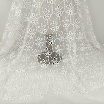 5yd White African Lace Fabrics High Quality French Organza Lace Fabric Guipure Embroidered Tulle Lace For Nigerian Wedding Dress
