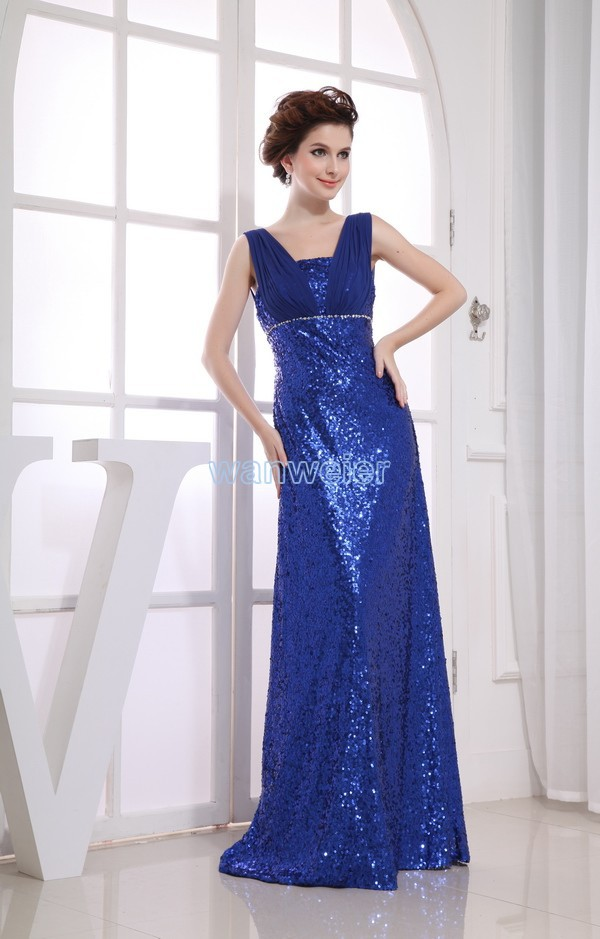 Free Shipping 2016 Blueformal Gowns New Design Hot Maxi Dresses Long Brides Maid Gown Sequined Custom Size/color Prom Dresses