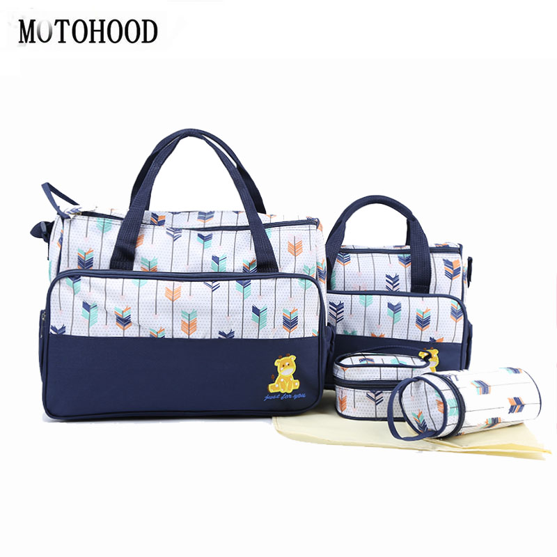 MOTOHOOD 5pcs Baby Diaper Bag Suits For Mom Mommy Maternity Bag Sets Baby Bottle Holder Mother Women Bag For Stroller