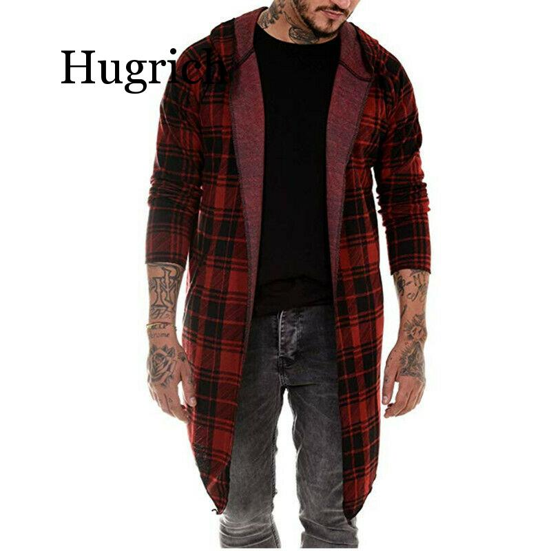 2020 Autumn New Korean long-sleeved Shirt men's slim long cardigan sweater coat Men Long Sleeve Hoodie Hooded Tops Plaid Outwear