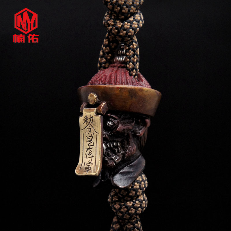 1 pièces Culture chinoise cadavre crâne couteau perles à la main EDC parapluie corde multicolore couteau perles bricolage pendentif