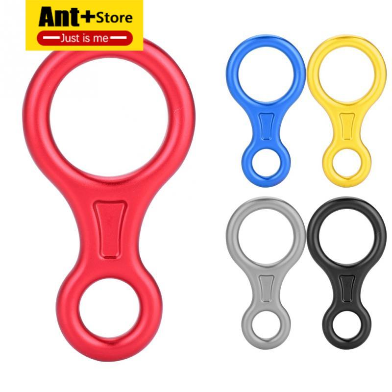 Rock Climbing Descender Figure 8 Word Rope Descender Rappel Ring Downhill Eight Ring Rappelling Gear Belay Device Carabiner