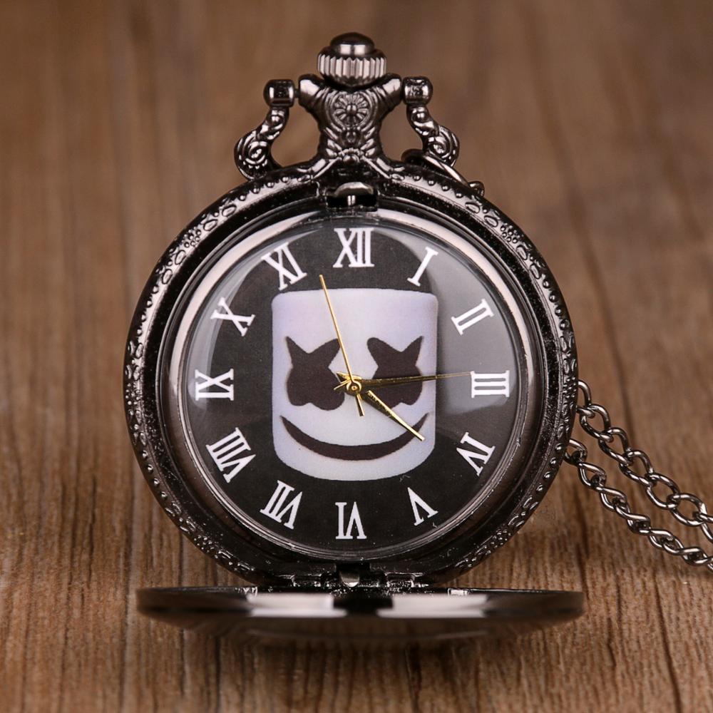 Vintage Black Droll Pattern Quartz Pocket Watch With Chain Antique Pendant Necklace Men Women Fob Watch Relogio De Bolso