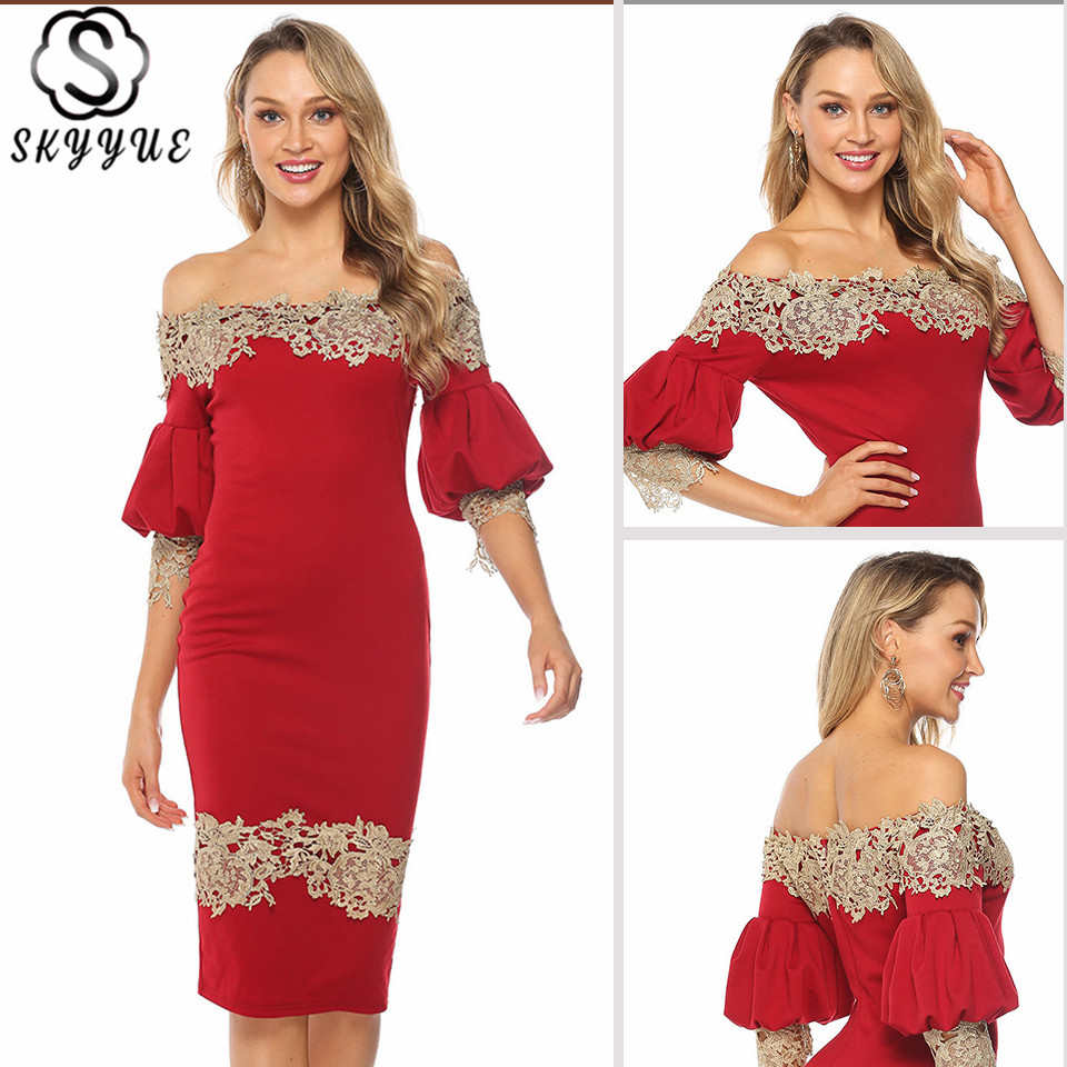 Skyyue Red Evening Cocktail Dress Half Sleeve Solid Lace Robe Cocktail Gown YM060 Off The Shoulder Lantern Sleeve Cocktail Dress