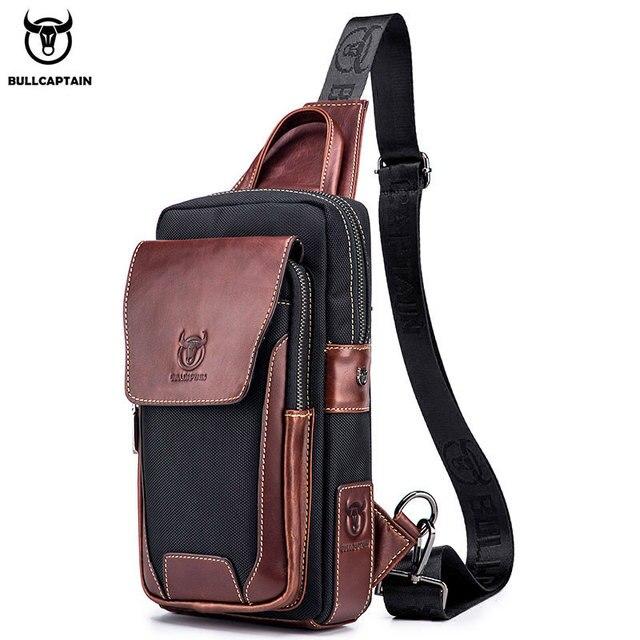 BULLCAPTAIN الساخن الرجال الأولى طبقة جلد البقر عارضة الأزياء الصدر حقيبة بحزام حقيبة رجالية على حقيبة كتف الرجال حقيبة صدر للرجال