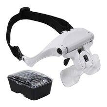 Headband Magnifier Led-Light 5-Lens loupe Glass Led with Storage-Case Adjustable