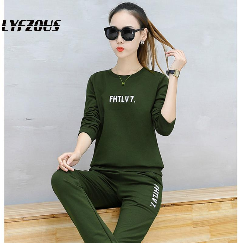 LYFZOUS Spring Tracksuit For Women Two Piece Set Casual Letter Print Sweatshirt And Pant 2pcs Sets Autumn Fashion Sportsuits