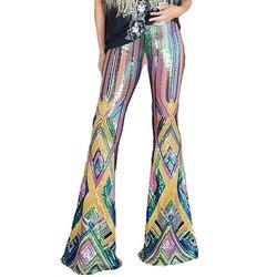 Delle Donne europee E Americane Multi-color Geometrica Paillettes Flarepants Primavera E di Modo di Autunno A Vita Alta Casual Pantaloni