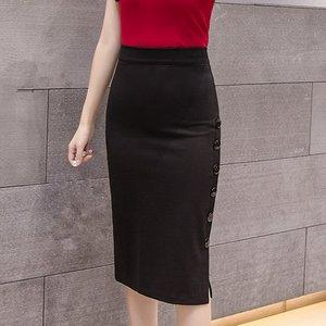 Image 3 - Plus Size 2020 Fashion Women Work Midi Skirt OL Sexy Open Slit Button Slim Pencil Skirt Elegant Office Ladies Skirts Red Black