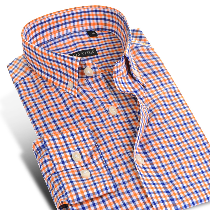 Men's Long-Sleeve Casual Plaid Checkered Shirts Comfortable Cotton Standard-fit Button Down Collared Gingham Shirt