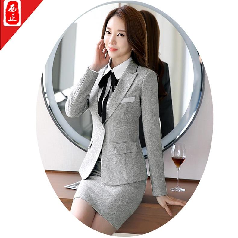 Classic Business Long Sleeve Simplicity Generous Business WOMEN'S Dress Wrinkle Iron Slim Fit Pocket Professional Skirt Suit/