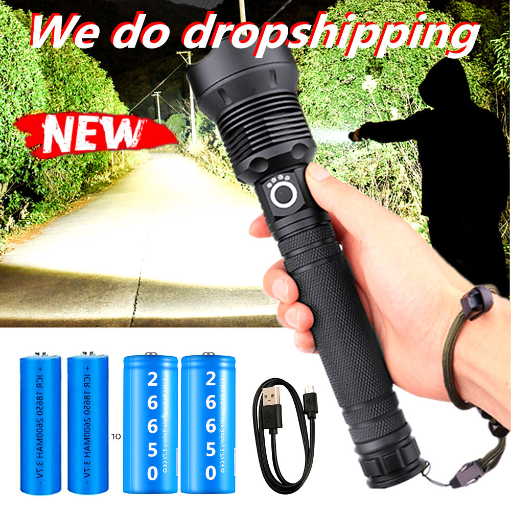 80000LM Most Powerful XHP70.2 LED Flashlight Brightest Zoom Torch XHP90.2 USB Rechargeable Lamp By 18650 26650 for Camping