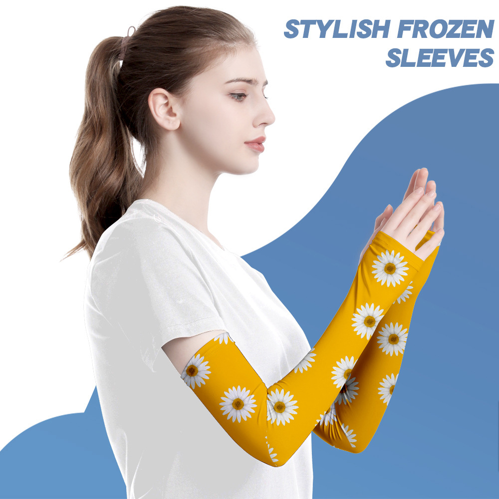 Daisy Oversleeves 3D Digital Sunscreen Hand Sleeves Ice Sense Can Be Customized Neutral/for Both Men And Women Harajuku Printing